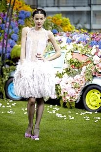 Spring 2011 Lace Dress With a Feathered Skirt