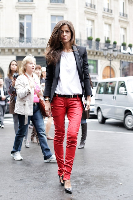 Stretch Leather Biker Trousers