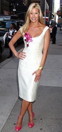 Spring 2010 RTW White Sheath Dress With PInk Floral Design
