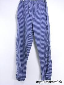 White and Blue Striped Pajama Bottoms