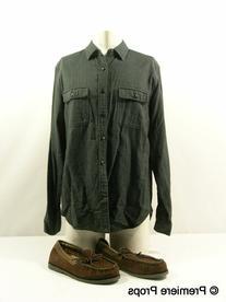 Workwear Black Herring Bone Button Up Shirt