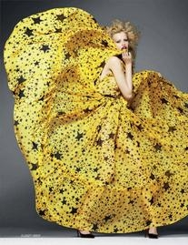 Fall 2011 RTW Sheer Star Print Yellow Gown