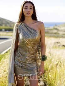 Asymmetric Draped Lamé Dress