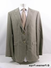 Light Brown Heathered Pinstripe Two Piece Suit