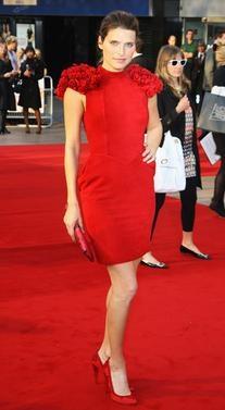 Red Ruffled Shoulder Dress