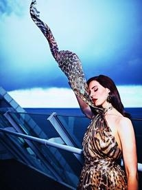 Spring 2012 RTW Neck Metallic Gown With Leopard Print