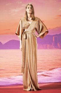 Iridescent Peach Kimono Gown