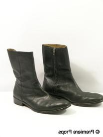 Black Leather Round Toe Boots