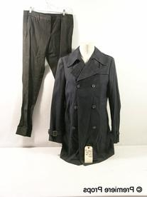 Navy Blue Double Breasted Trench Jacket