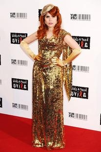 Gold Label Long Glazing Metallic Sequined Gown