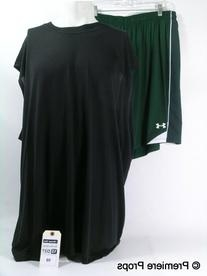 Green Athletic Shorts with Black Side Panels