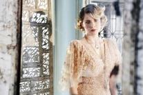 Spring 2011 RTW Flutter Sleeve V-Neck Embroidered Gown