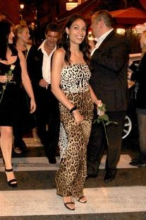 Mixed Leopard Strapless Gown