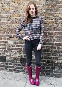 Checked Blouse With a Velvet Bow