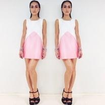Spring Summer 2014 White and Pink Dress