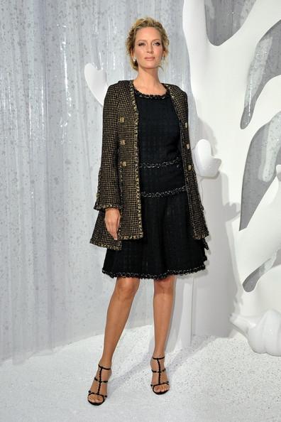 Tweed-Trimmed Dress