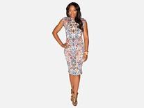Multicolor Porcelain Print Jacquard Wool Knit Dress